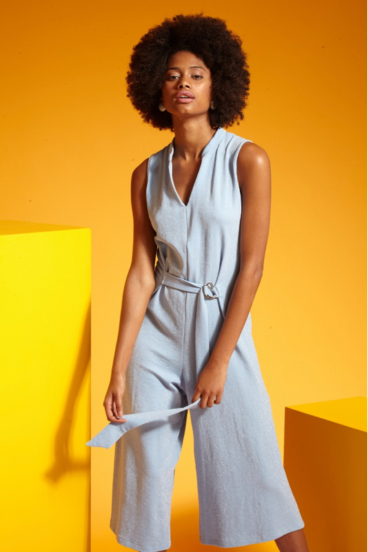 Blue knitted sleeveless midi overall