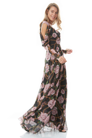 Print y28 chiffon long sleeve maxi dress